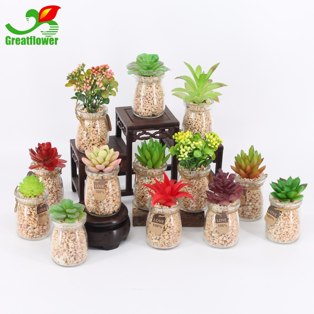 Greatflower Kunstmatige vetplanten in helder glazen - Feestversiering en feestartikelen