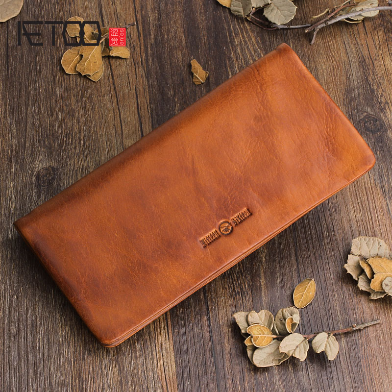 AETOO Original design first layer of leather wallet handmade leather men and women handbag multi-card holder wallet youth casual weaving design card holder handbag hasp wallet for women