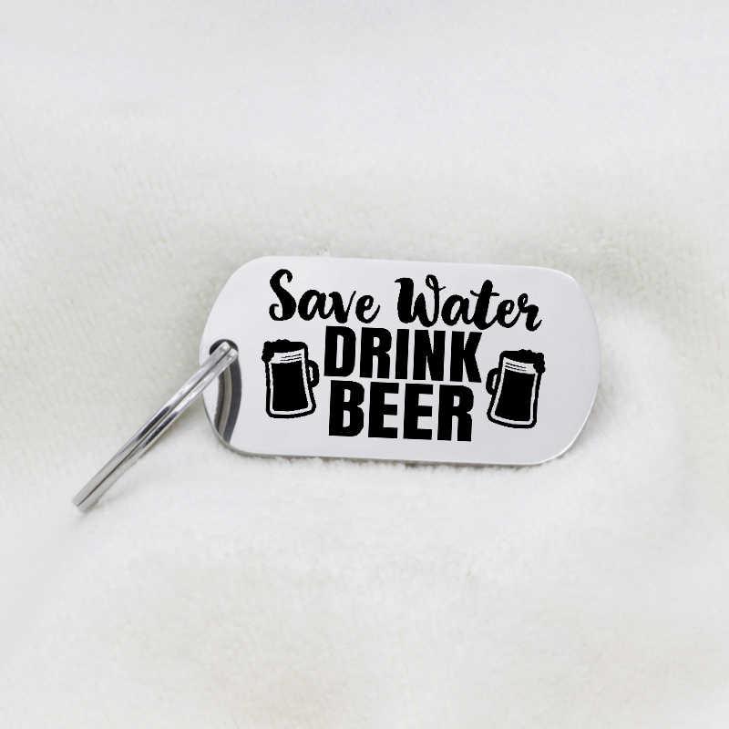 2018 nuevo diseño de joyería de acero inoxidable para hombres, collar de cerveza de bebida de agua, llavero, bebida, cerveza, Dropship aceptado YP6164