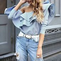 [CHICEVER] 2017 Spring Off The Shoulder Slash Neck With Ruffles Striped T shirt Women Tops New Fashion Clothing