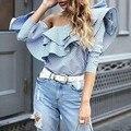 [Chicever] 2017 primavera hombro de la raya vertical de cuello con volantes a rayas mujeres de la camiseta tops nueva moda clothing