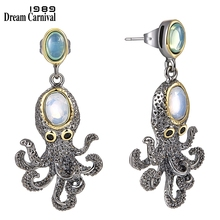 DreamCarnival 1989 Super! New Arrived Funny Octopus Drop Earrings for Women Cute Best Party Jewelry Simulated Opal Stones WE3875