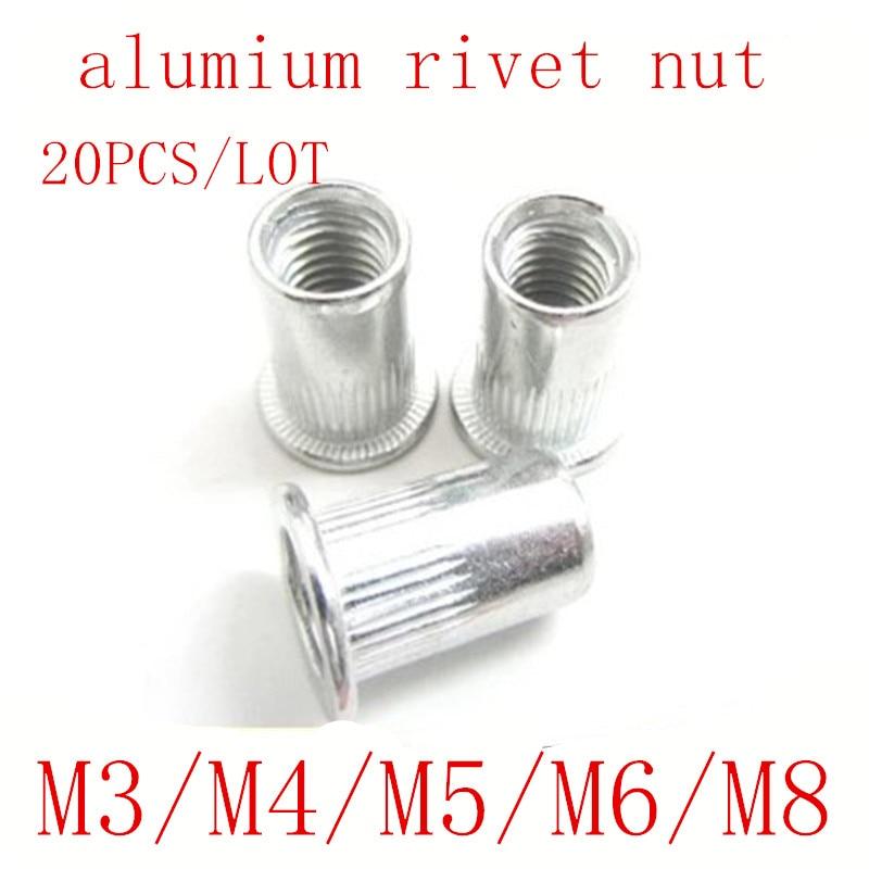 20Pcs Rivet Nut M8 Stainless Steel Hex Flat Head Insert Nutsert