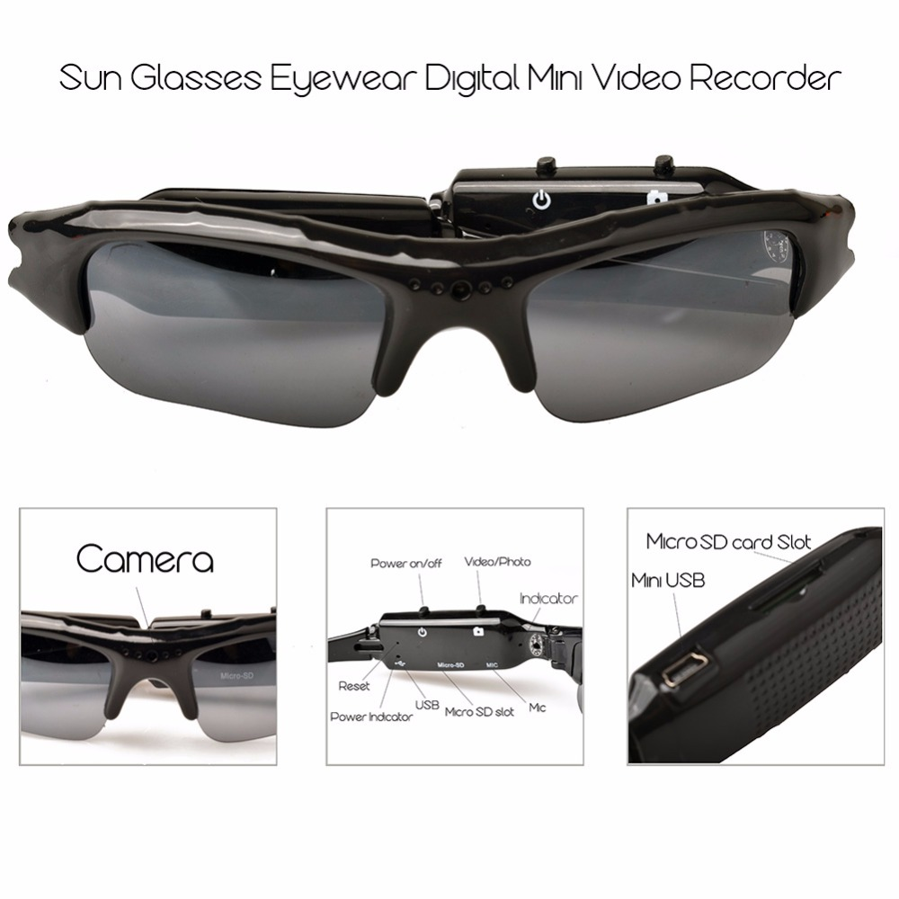 Mini Sport Camera Audio Video Recorder Eyewear brilles Portable Mini DVR kamera ar brilles Video / Saulesbrilles kamera