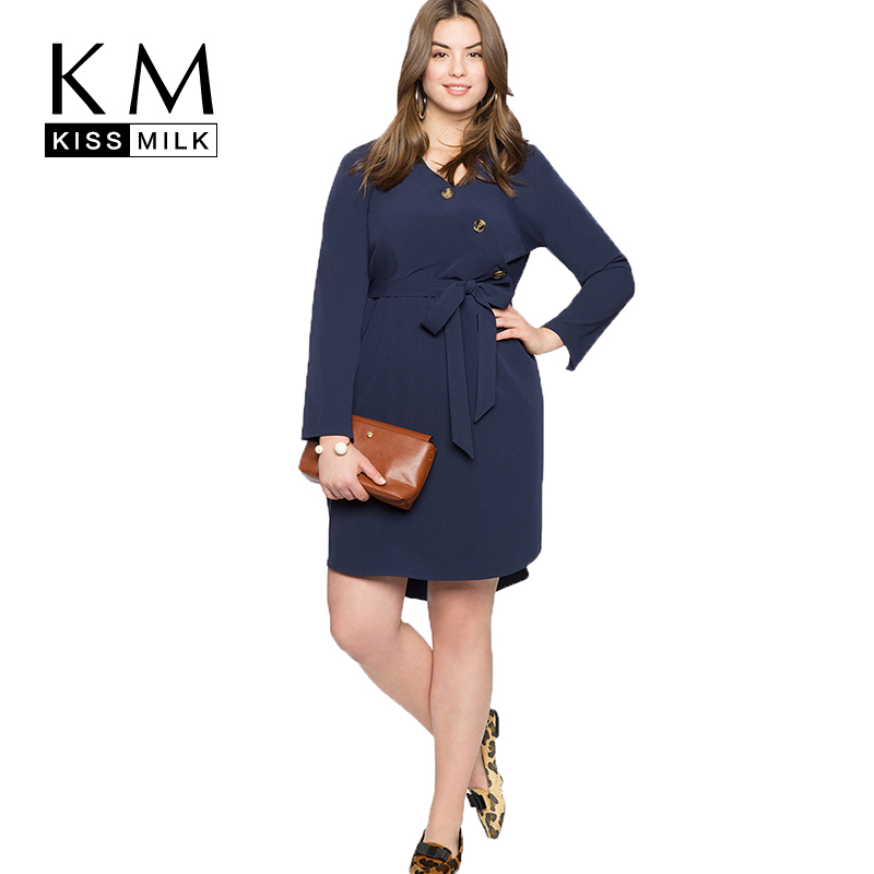 fab9348025 US $18.01 29% OFF|Kissmilk Plus Size Women Vintage Sashes Dress Loose Solid  Empire V Neck Knee length Autumn for Lady On Formal Occasions-in Dresses ...