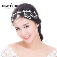 Free Shipping Elegant Pearl Tassels Rhinestone Star Bride Hair Accessory Crown Tiara Wedding Jewelry Bridal Accessories