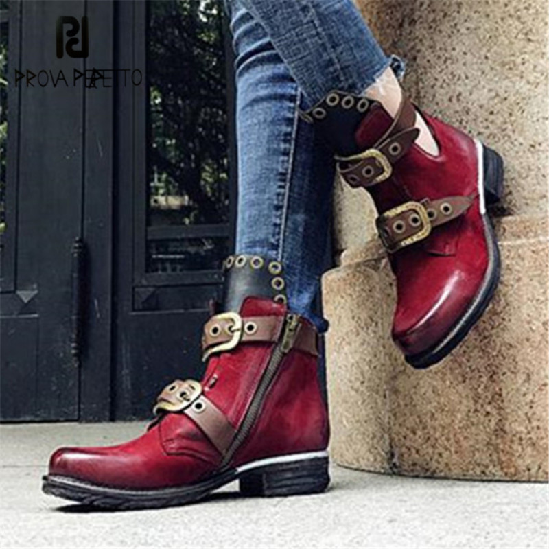 Prova Perfetto Wine Red Women Ankle Boots Belt Straps Autumn Winter Short Boots Genuine Leather Platform Rubber Shoes Woman women boots plus size 35 43 genuine leather autumn winter ankle boots black wine red shoes woman brand fashion motorcycle boot