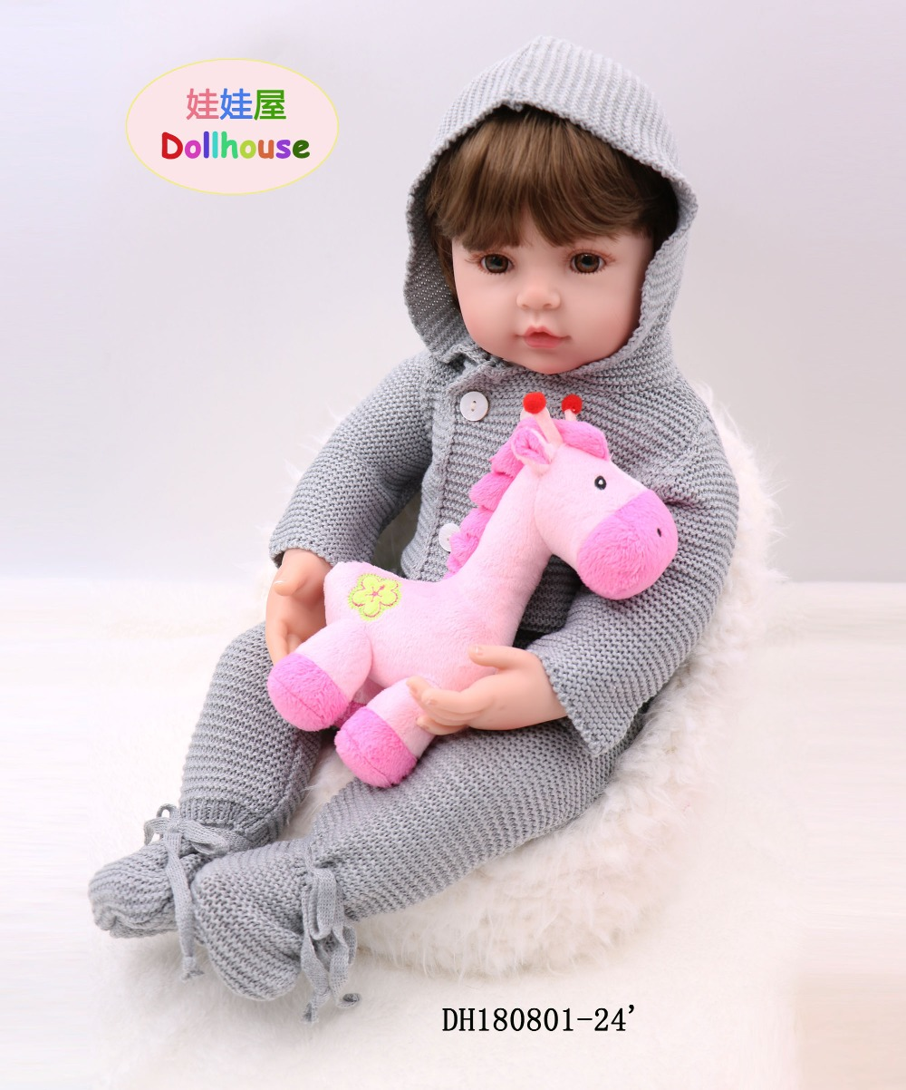 silicone <font><b>reborn</b></font> boneca <font><b>60</b></font> <font><b>cm</b></font> mini silicone baby <font><b>dolls</b></font> soft vinyl 24inch realistic Toddler <font><b>Doll</b></font> Toys for Children Christmas gifts image