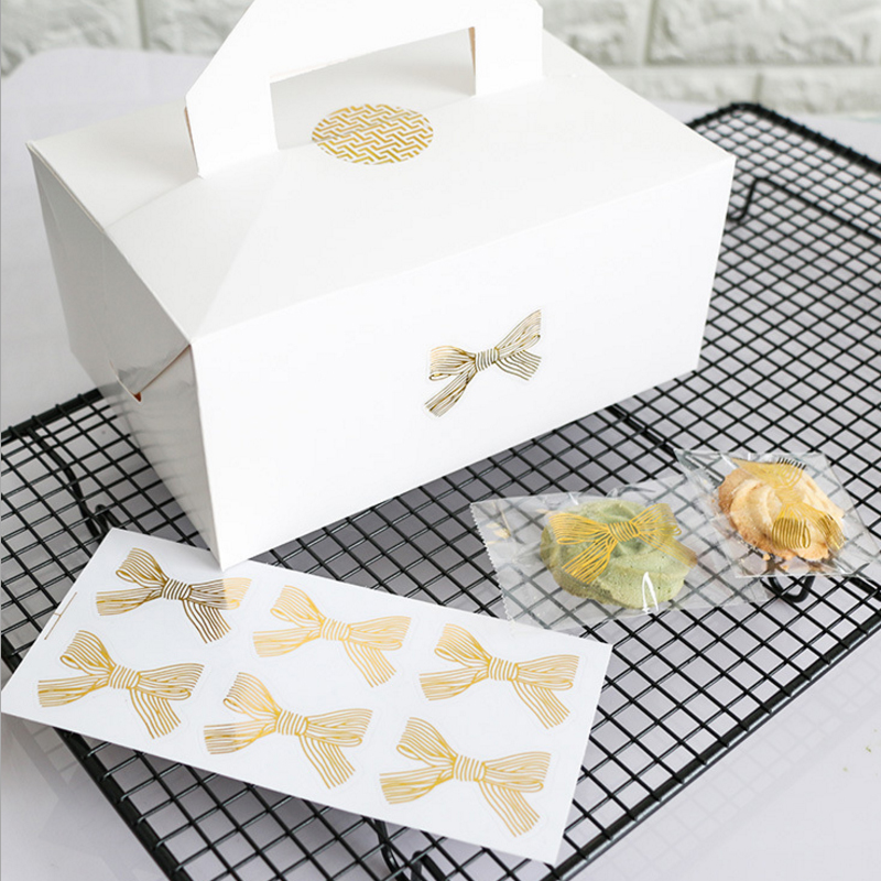60pcs/lot cute gold bow bronzing transparent sealing sticker  DIY seal sticker self-adhesive sticky gifts package label60pcs/lot cute gold bow bronzing transparent sealing sticker  DIY seal sticker self-adhesive sticky gifts package label