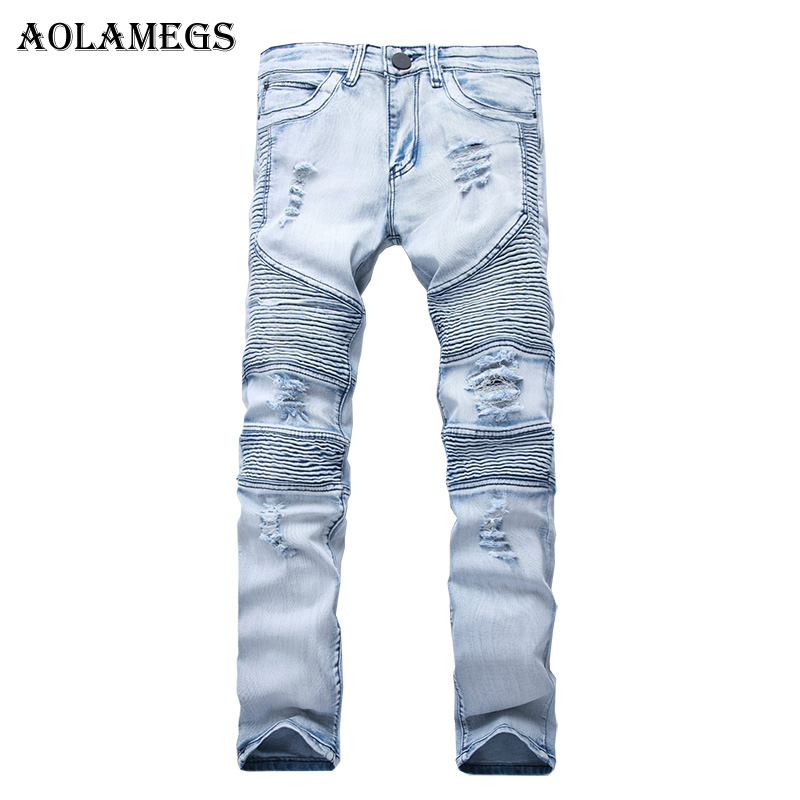Aolamegs Men Jeans Pants Hole Ruched Full Length High Street Crest Multiple Colors High Elastic Light Cultivation Denim Straight