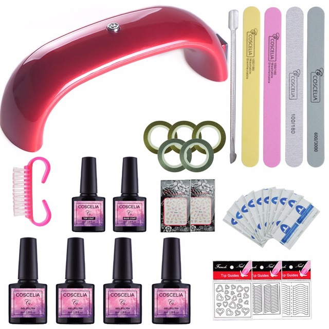 Nail Art Tools Kit Set 12w Led Lamp For Dryer 2 4pcs Gel