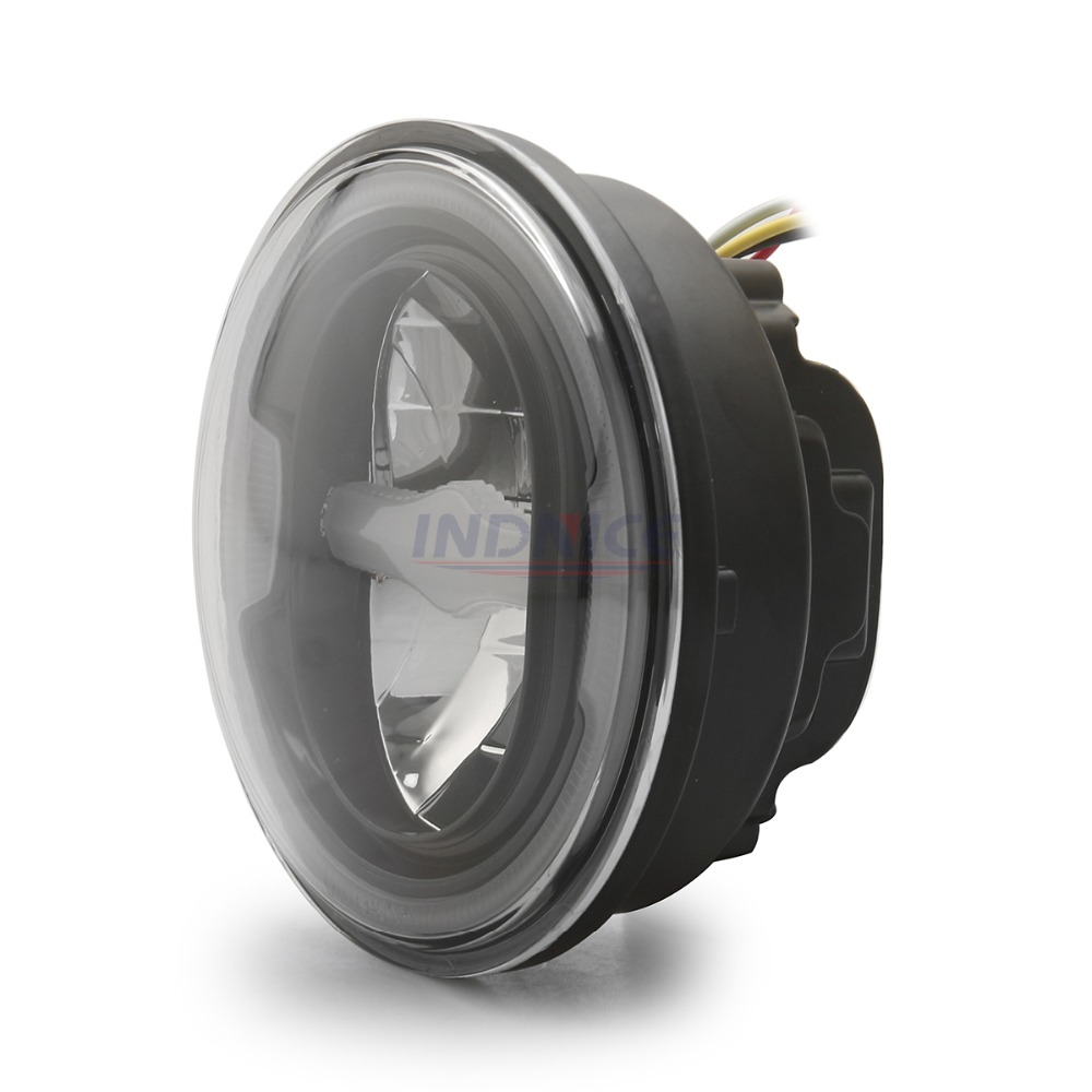 Home 5.75 Angel Eye Motorcycle Headlight For Harley Sportsters Xg Xr Vrscd Dyna Projector Led Black Round Headlamp