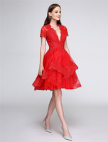 TS Couture A-linie Fit & Flare Tiefer Ausschnitt Knielangen Organza Cocktail Party Homecoming Prom Kleid mit Appliques Tasten