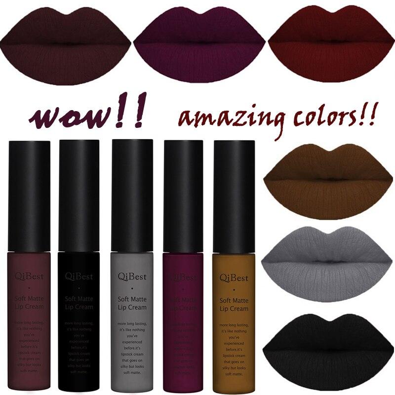 Waterproof Matte Nude Lipstick Lipkit Pigment Dark Red Black Long Lasting Lip Gloss Lot Women Makeup 2