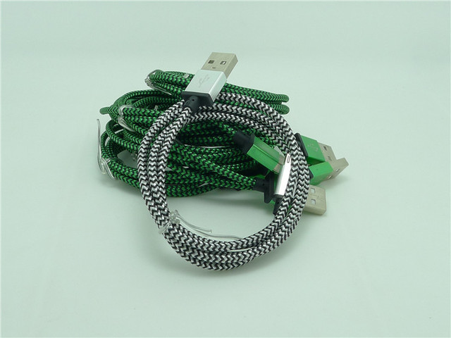 100pcs New Durable Round Fabric Braided Micro USB Data Sync Charger Cable For Samsung Galaxy S3 S4 S6 HTC