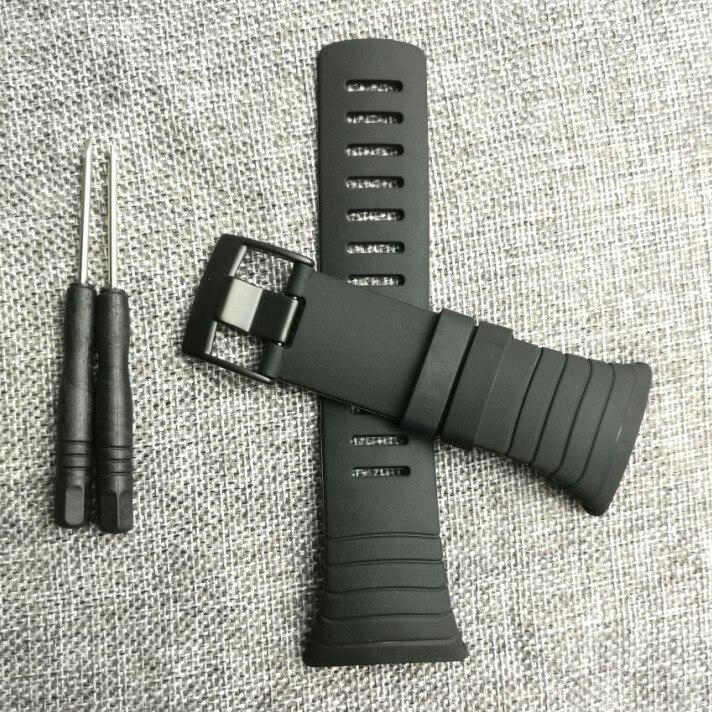 Nueva Accesorios de reloj negro correa de caucho negro impermeable durable reloj para Suunto Core correa de pulsera reloj de los hombres Correa no Tornillos