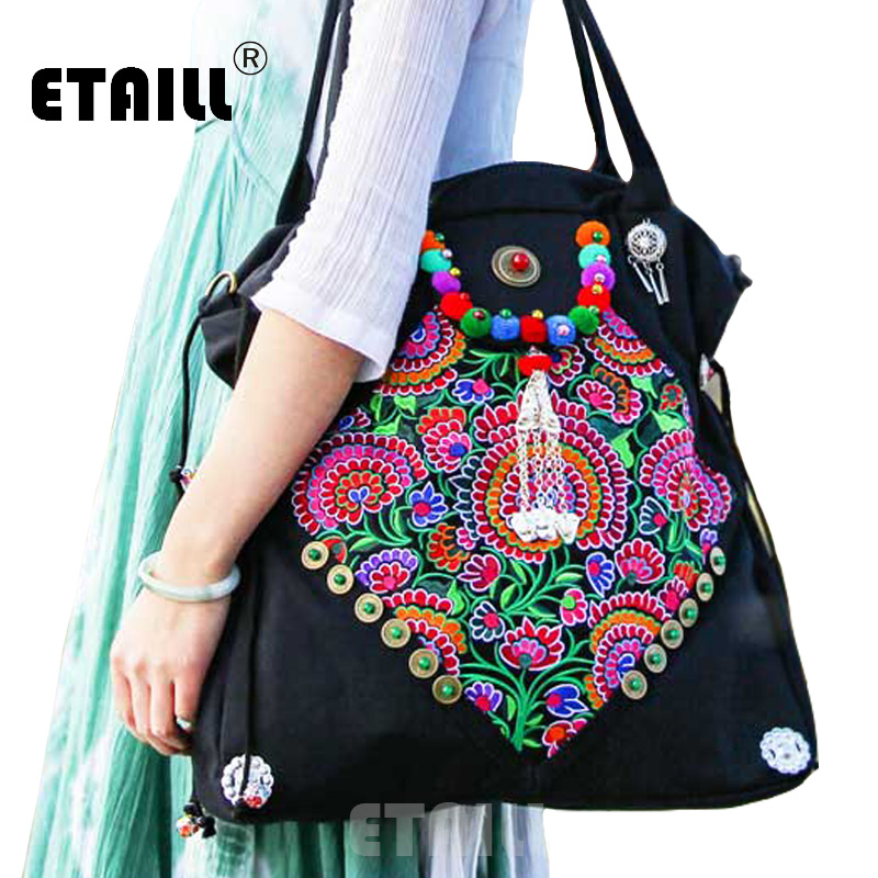 цены ETAILL Original Ethnic Handmade Embroidered Shoulder Bags Vintage Tassel Large Boho India Handbag Casual Canvas Messenger Bags