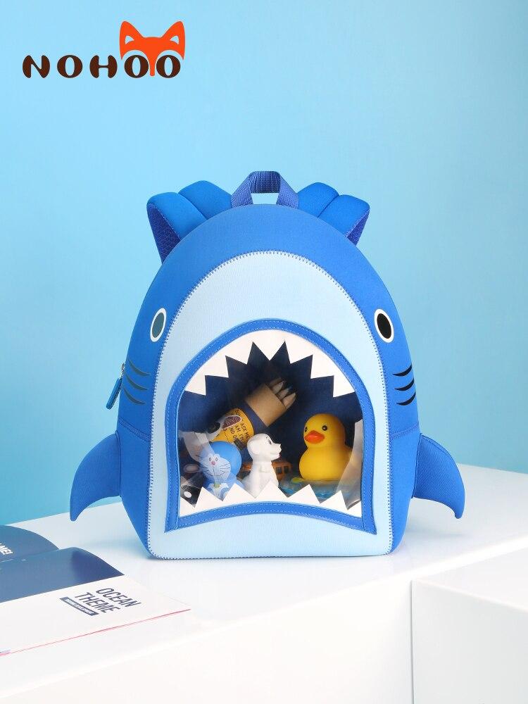 NOHOO School Bags For Boys Transparent Shark High Quality Kids Bag 3-6 Year Old Kindergarten Waterproof Backpack Mochila Escolar