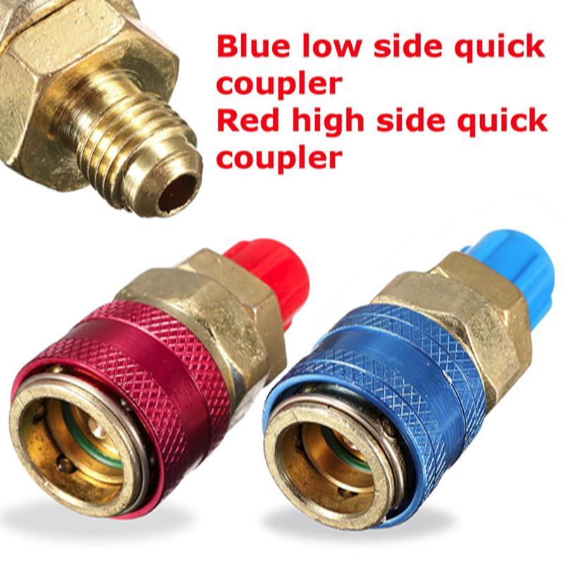 Pair of Car Auto Refrigerant AC R134A System Quick Couplers Connectors Adapter Plug 1/4 Flare a c system adjustable air conditioner quick couplers connector burgundy for car