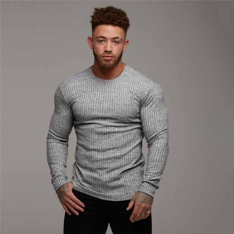 2019 Autumn Fashion Men's T-shirt Sweater O-Neck Slim Fit Knittwear Mens Long Sleeve Pullovers Tshirts Men Fitness Pull Homme