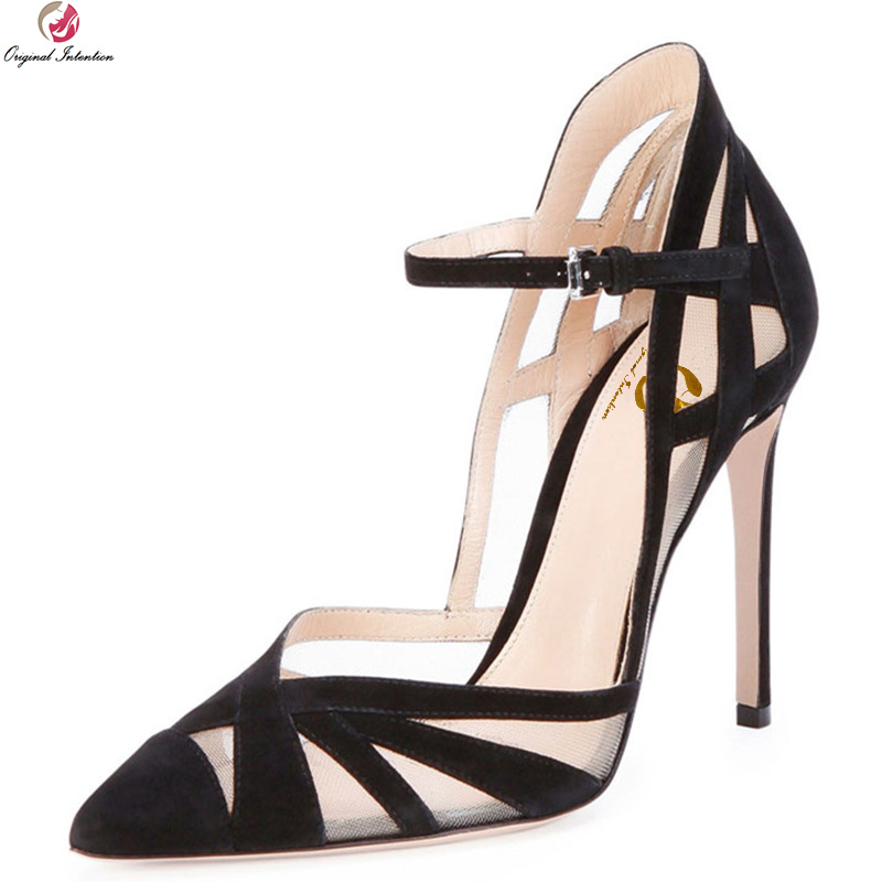 Original Intention New Elegant Women Sandals Patchwork Pointed Toe Thin Heels Sandals Black Nude Shoes Woman Plus US Size 3-10.5