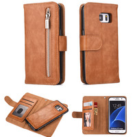 Multifunction Wallet Leather Case For Samsung Galaxy S7 S7 Edge Note 5 Zipper Pouch Card Slots