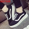 HEVXM Zapatos de Lona de Las Mujeres 2016 Colores Del Caramelo Zapatos de Mujer Casual Zapatos de Moda de Calzado Casual Mujeres de Las Señoras Blanco Negro Zapatos de Las Mujeres