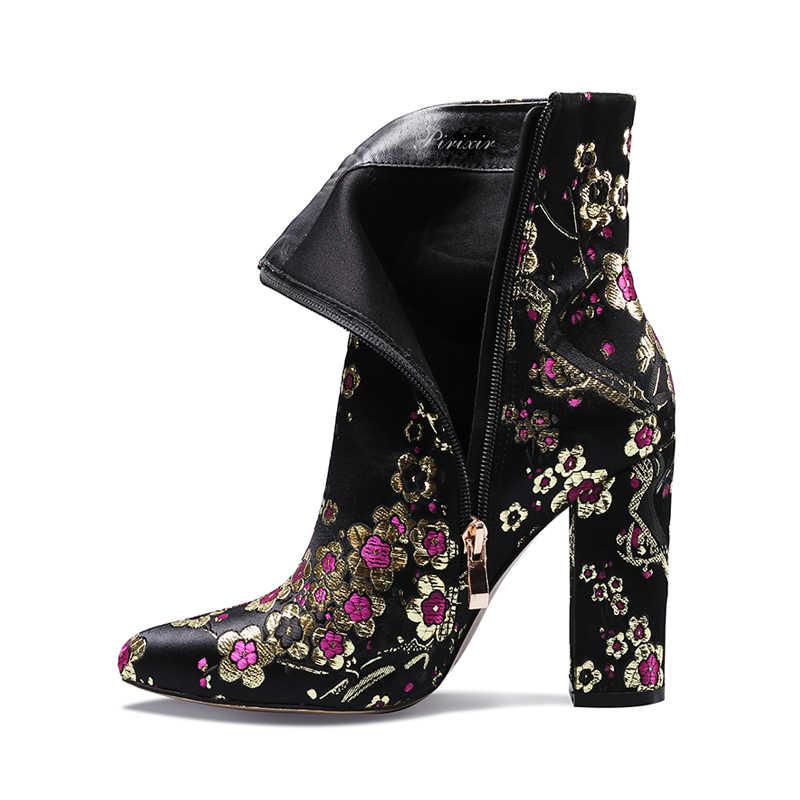 Perixir Autumu/winter vrouwen mid-kalf laarzen handgemaakte borduren stof hoge hakken wees teen dames mode Half Laarzen schoenen