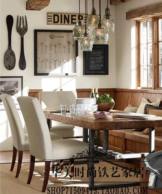 tienda online slida vintage americana mesa de comedor de madera hierro forjado sillas de escritorio bar mesa de comedor combinacin hotel aliexpress with