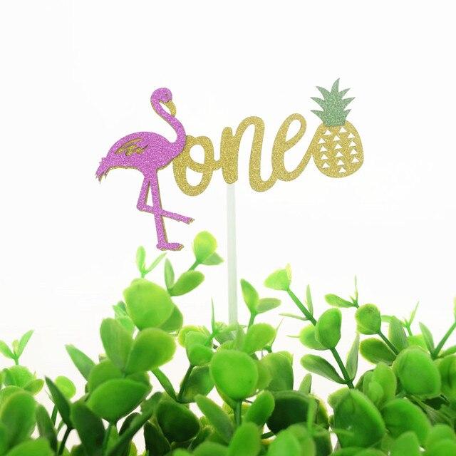 Pastel Toppers banderas brillo flamenco piña uno niños 1 er cumpleaños Cupcake Topper boda Baby Shower fiesta hornear decoración DIY