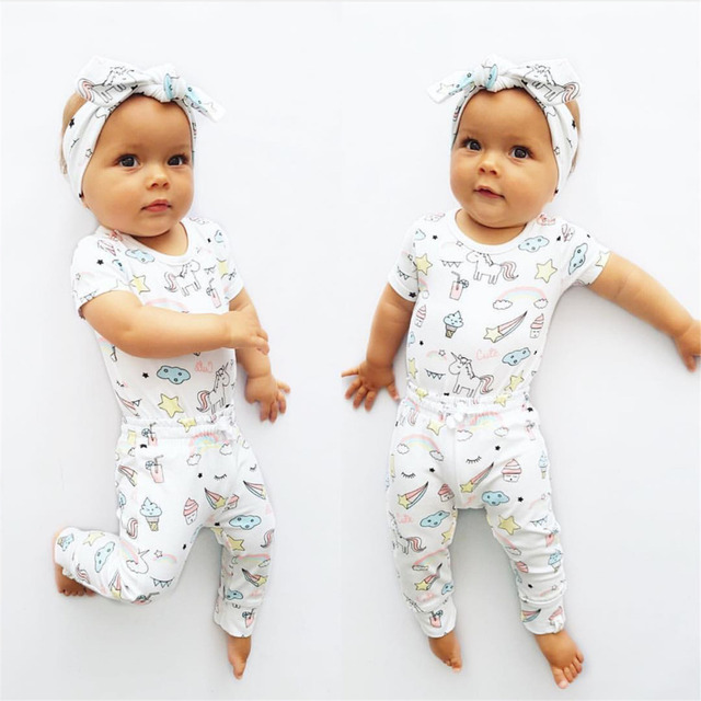 Summer Baby Girls Clothes Newborn Infant Casual Cartoon Print Short Sleeve 3Pcs Baby Girl Clothing Toddler Outfits Set