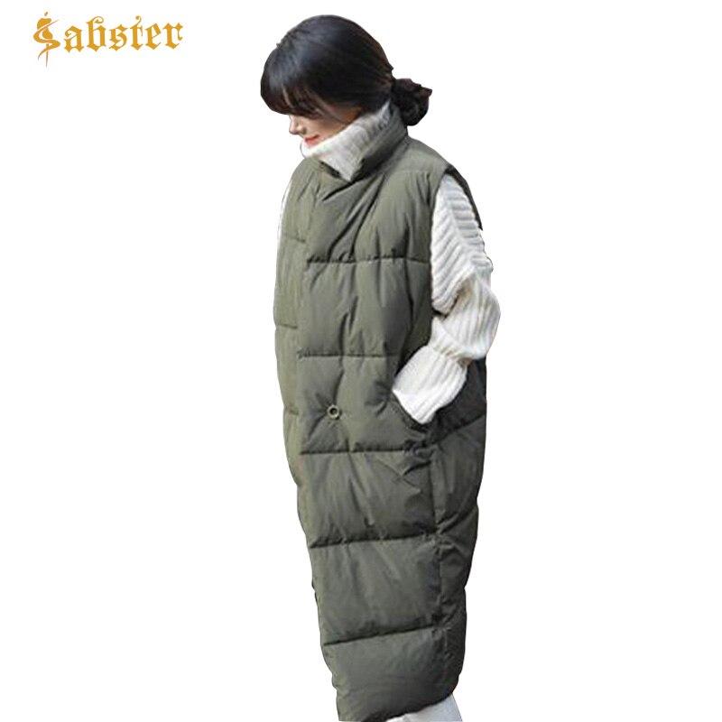 Новый осень-зима Для женщин жилет Длинные пальто без рукавов хлопок теплый Для женщин жилет Мода Женский жилет куртка