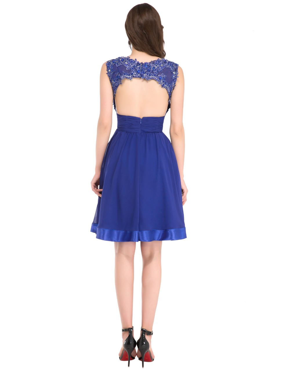 New Cap Sleeve Cocktail Dress Knee Length Lace Applique Blue Short ...
