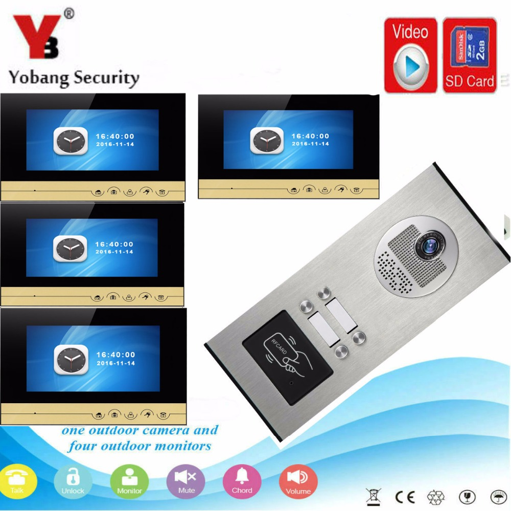 YobangSecurity Video Doorbell 7 inch Wired Video Door Phone Intercom System RFID Access With Recording function for 4 Apartment 125khz rfid card access control video door phone system wired 7 inch color screen video door bell with rfid card reader