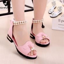 Chivry New 2019 Summer Girls Sandals Fashion Beads Princess Shoes Children Kids Baby High Heel Beach Party