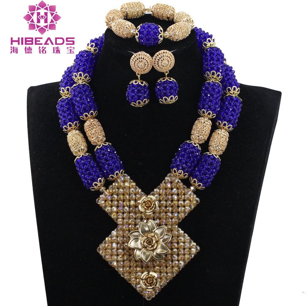 Traditional Nigerian Wedding Gifts: 2017 Royal Blue African Jewelry Sets Nigerian Wedding