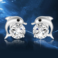 Free Shipping 2 Pairs Dolphins Shape 925 Sterling Silver Stud Earrings Luxury Jewelry Stud Earring Women Girls Gifts Decoration