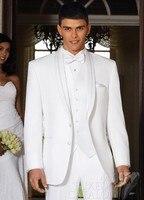 Custom Made Groom Tuxedo White Groomsmen Shawl Lapel Wedding/Dinner Suits Best Man Bridegroom (Jacket+Pants+Tie+Vest) B282