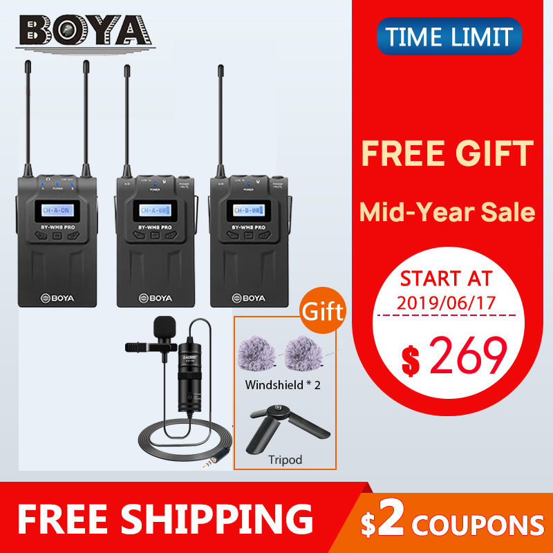 BOYA WM4 Pro II BY WM6 BY WM5 BY WM8 UHF Wireless Microphone System Omni directional