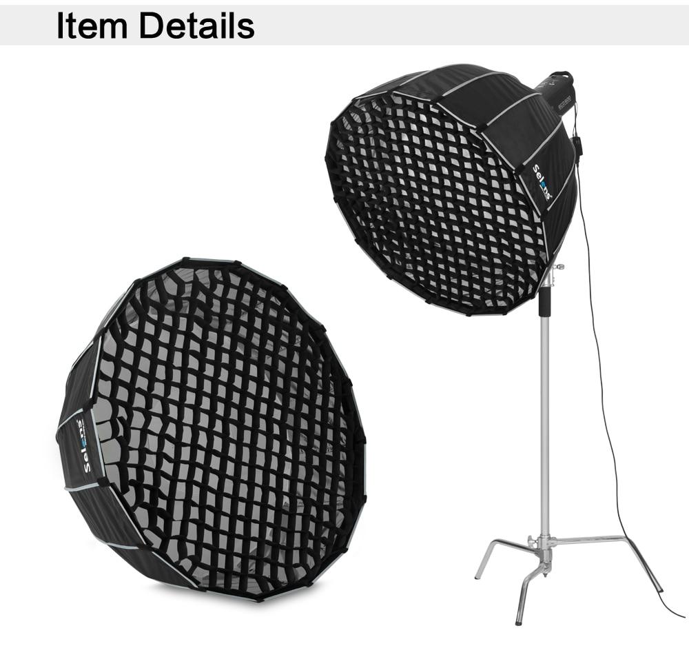 Honeycomb Grid Selens 90cm 120cm 150cm 190cm 16 Rods Hexadecagon Umbrella Softbox Deep Parabolic Studio Light Modifier