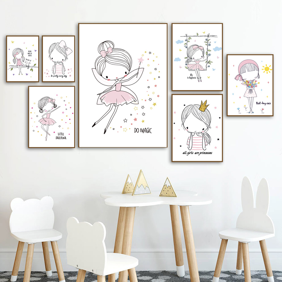 Cartoon Pink Princess Girl Nordic Posters And Prints Wall Art Canvas Painting Wall Pictures Kids Baby Room Scandinavian Decor