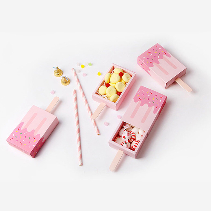 Lovely Paper Ice Cream Shape Cookies Snack Packing Box Pink Candy Sugar Package Box Restaurant Shop Package Tools 10pcs/pack