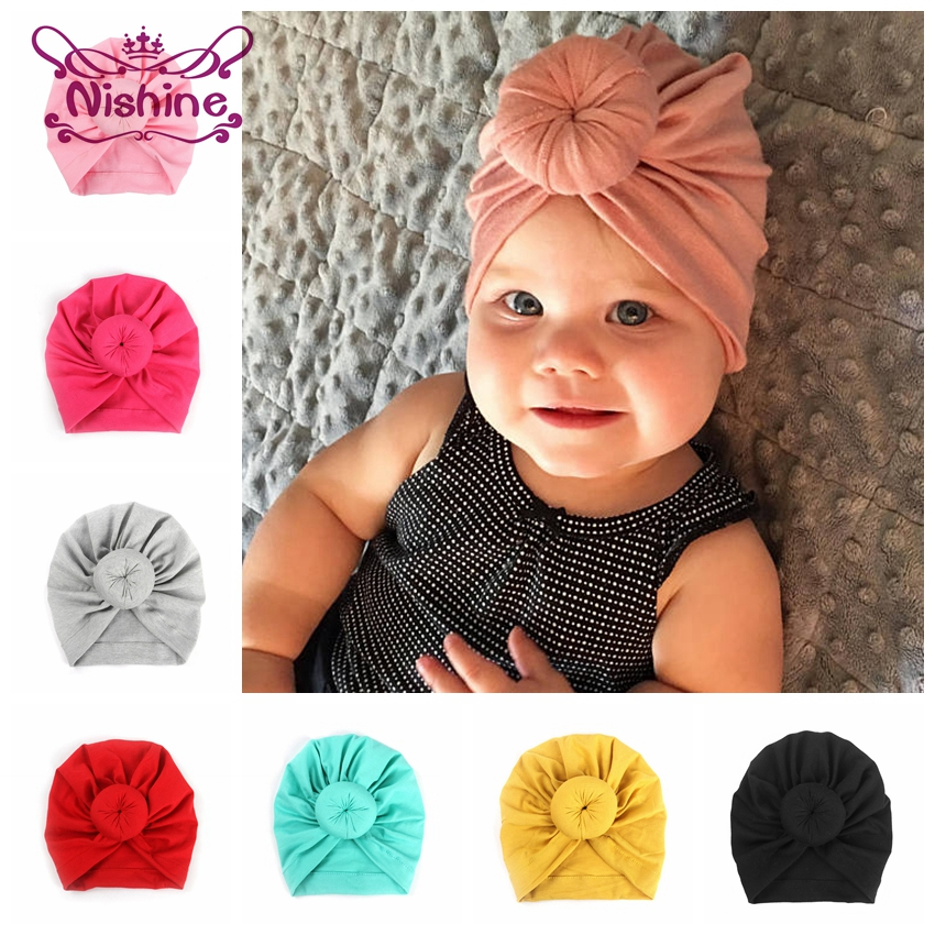Nishine Baby Turban Hat With Bow Children Hat Cotton Blend Newborn Unicorn Beanie Top Knot Kids Photo Props Baby Shower Gift