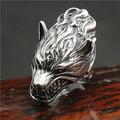 New Arrival 316L Stainless Steel Punk Murderous Wolf Mens Ring Cool Animal Wolf Ring