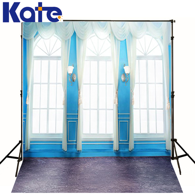 Christmas Photography Backdrops Blue Wall Windows Photography Background  Red Hat White Curtains Floor Backgrounds Wedding Studio
