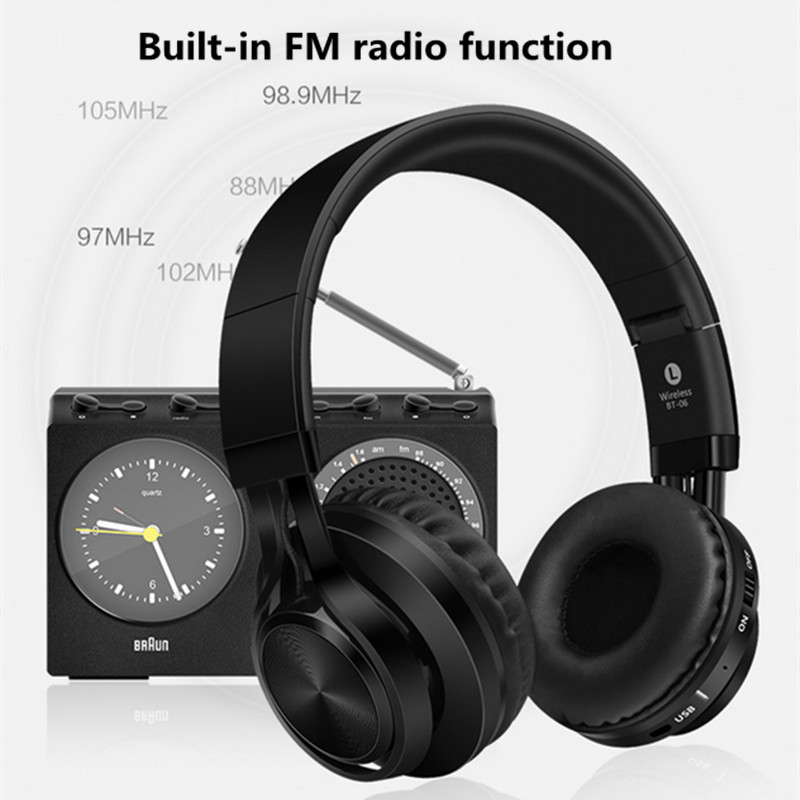 Picun BT-06 Bluetooth Headphones Wireless Stereo Headsets Foldable with Mic Support TF Card FM Radio for iPhone Samsung Xiaomi wireless bluetooth headphones music earphone stereo headsets handsfree with mic fm radio tf card slot for iphone samsung xiaomi