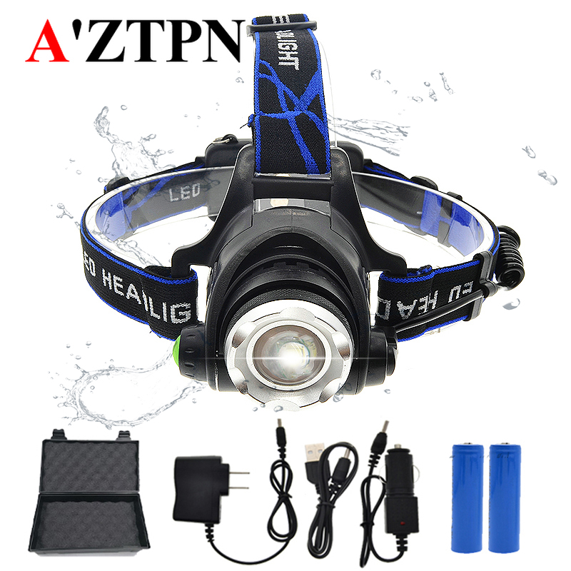 LED Headlamp Headlight 3800 Lumen T6 3modes Zoomable Lamp Waterproof Head Torch Flashlight Head Lamp With18650 +charger