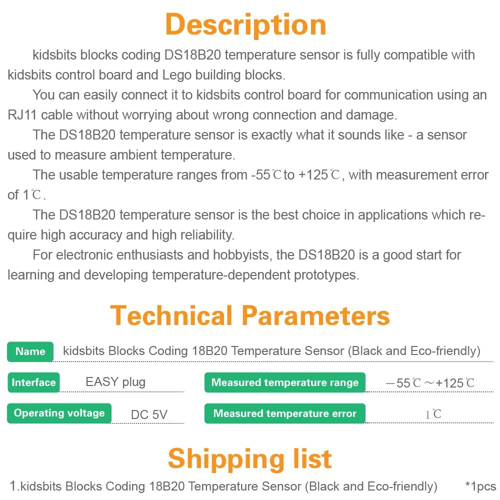 Image 5 - kidsbits Blocks Coding 18B20 Temperature Sensor Module for Arduino STEAM EDU(Black and Eco friendly)-in Demo Board from Computer & Office