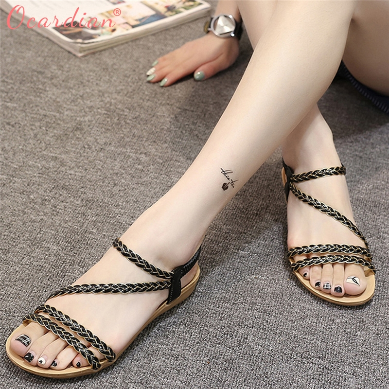 2018 Women Summer Weave Sandals Home Sandals Beach Flat Shoes Beach Buty Shoes kenneth cole reaction women s beauty in belize skirted bikini bottom