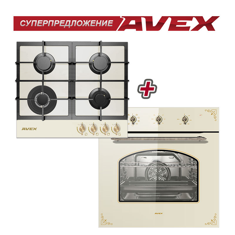 Set The Cooktop  AVEX HM 6044 RY+AVEX RYM 6090 F Household Home Appliances For The Kitchen Electric Oven Cooking Food